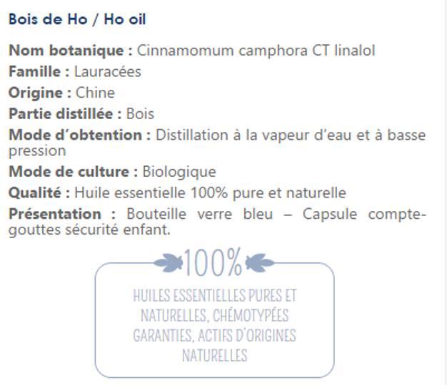 Info Huile essentielle Bois de Ho
